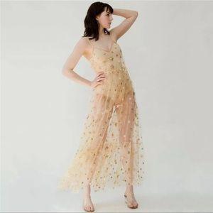 Golden Galaxy Sparkle Mesh Maxi Dress Cover Up